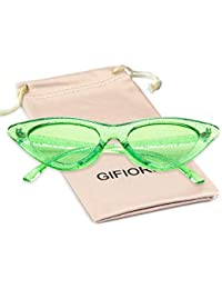 Gifiore Retro Vintage Cateye Sunglasses for Women Clout Goggles Plastic Frame Glasses (Clear Green GLITTER, 51)