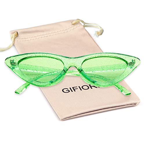 (Gifiore Retro Vintage Cateye Sunglasses for Women Clout Goggles Plastic Frame Glasses (Clear Green GLITTER, 51))