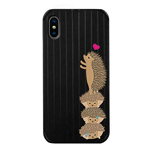 Fantasydao Compatible with iPhone 6/6s,Ultra Thin & Light Slim Case Cute Luggage Stripe Pattern Tempered Glass Back Cover + Soft TPU Frame Protection Bumper Shell for iPhone 6/6s(Black+Hedgehog)