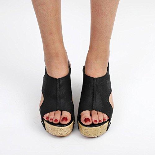 LUCKYCAT Sandales d'été Femme, Prime Day Amazon Chaussures de Été Sandales à Talons Chaussures Plates Pente Rivets Bouche de Poisson Bohême Talons Hauts 2018 Noir