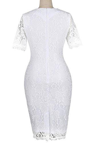 Babyonlinedress Vestido de fiesta estilo lápiz cuello redondo 1/2 manga bordado del encaje blanco