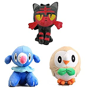 "8"" 3pcs/set Rowlet Popplio & Litten Plush Stuffed Soft Toys Dolls - 41pvp6oWalL - 8″ 3pcs/set Rowlet Popplio & Litten Plush Stuffed Soft Toys Dolls"