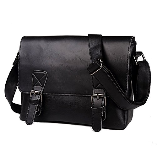 Retro Leather Crossbody Shoulder Bags Small Satchels Briefcase Messenger Casual Daypack for Men Women Black