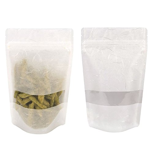 (Price/ 50 PCS) Aspire Eco-Friendly Compostable Rice Paper Stand Up Pouch with Ziplock and Clear Window, (4 OZ, 8 OZ, 16 OZ), 10 mil-White-4oz
