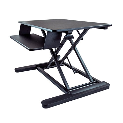 "StarTech.com Sit Stand Desk - 35"" Work Surface - Supports Two 24"" Monitors - Standing Desk - Adjustable Desk Riser - Stand Up Desk"