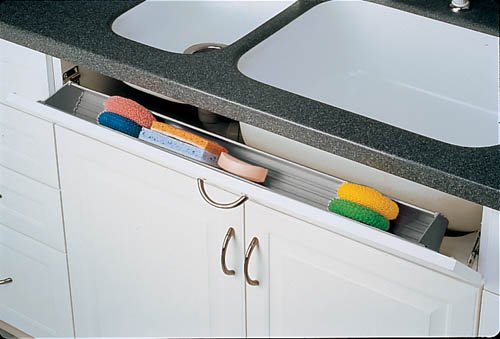 Rev-A-Shelf 6551-36-11-52 36'' Tip-Out Sink Front Tray with 2 pair of hinges - Polymer-White by Rev-A-Shelf