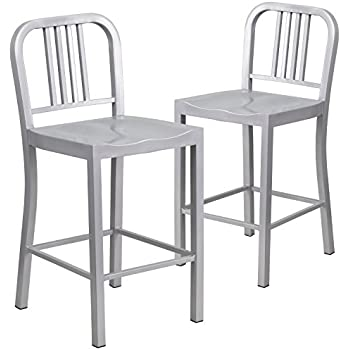 Incredible Amazon Com Set Of 1 Brushed Anodized Aluminum Modern Machost Co Dining Chair Design Ideas Machostcouk