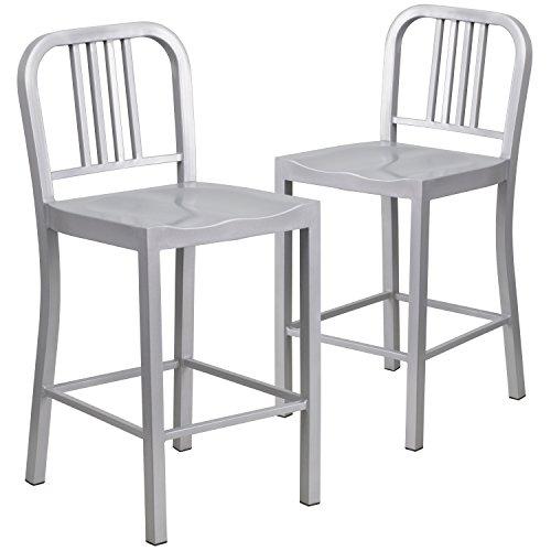 Merveilleux Flash Furniture 2 Pk. 24u0027u0027 High Silver Metal Indoor Outdoor Counter Height  Stool