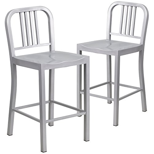 Aluminum Brushed Bar Stools - Flash Furniture 2 Pk. 24'' High Silver Metal Indoor-Outdoor Counter Height Stool