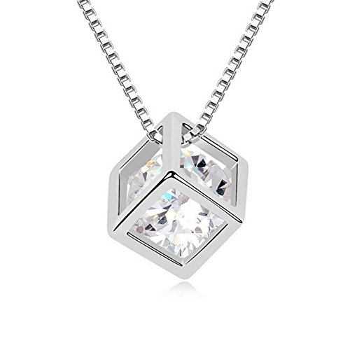 Winter's Secret Austrian Crystal White Love Square Silver Plated Zircon Necklace Delicate Fashion Jewelry
