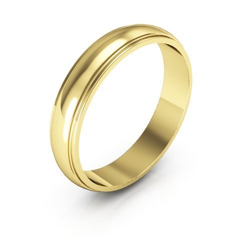 18K Yellow Gold men's and women's plain wedding bands 4mm half round edge, 10 by i Wedding Band
