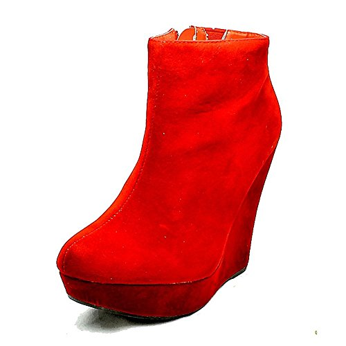 Suedette High Heel Keil Stiefeletten Red