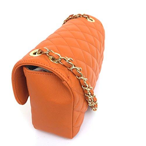 Fabriqué main en Italie Modèle matelassé à Nappa Orange Superflybags cuir Parigi véritable Sac bandoulière en wIPnqAE