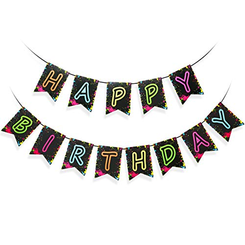 Glow In The Dark Happy Birthday Banner (Glow Party Happy Birthday Banner Decoration(Pre-Assembled, Glow Party Decorations, Birthday Party Letter Banner)