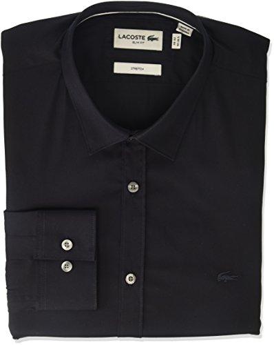 (Lacoste Men's Long Sleeve Solid Stretch Poplin Slim Woven Shirt, CH9628, Navy Blue, 15)