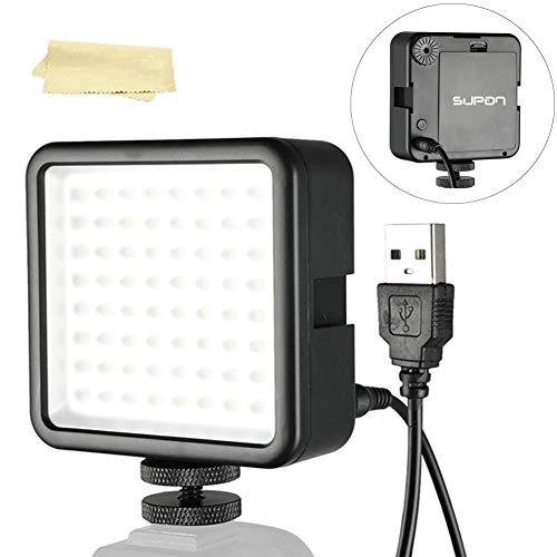 Soonpho LED 64 Ultra-Bright LED Light Panel, Dimmable Camcorder Led Panel Video Lighting for Gimbal Stabilizer,Tripod Mount,DSLR Camera Canon,Nikon,Sony,Panasonic,Olypus,Fuji etc(with USB to DC Cable)