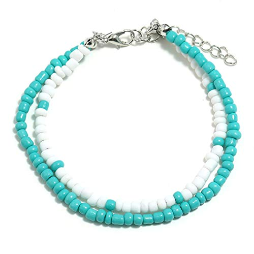Lovogue Shell Turquoise Bohemian Anklet Bracelet Fashion Beads Beach Barefoot Sandal 2 Layers Foot Chain Jewelry for Women and Girls