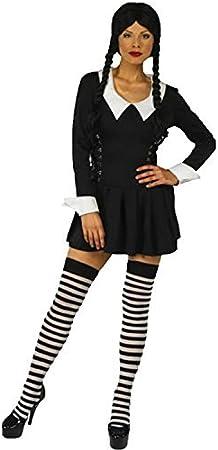 Mujer Miércoles Familia Addams Disfraz Halloween Plus Medias ...