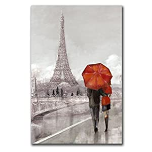 Amazon Com Canvas Wall Art Black Red Umbrella Paris