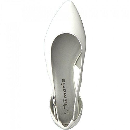 Tamaris 1-1-22125-30 Damen Ballerina, Sommerschuhe für Die Modebewusste Frau WHITE MATT