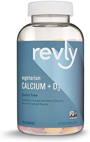 Amazon Brand - Revly Calcium + D3, 500 mg Calcium with 1,000 IU Vitamin D3 per Serving (2 Gummies), 90 Gummies, Vegetarian, Non-GMO