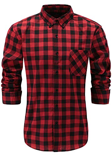 Emiqude Men's 100% Cotton Slim Fit Long Sleeve Stylish Button Down Plaid Dress Shirt Medium Red Black