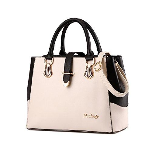 Tisdaini Nuevos bolsos de las señoras bolso de cuero de la PU de la manera bolso del mensajero bolso femenino cartera de la capacidad grande Blanco