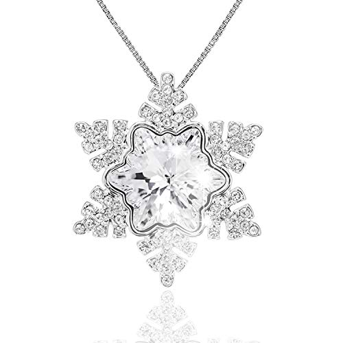 ASHE Snowflake Necklace Pendants Valentine's Day Anniversary Mother's Day Birthday Gift for Women Girls Girlfriend Wife from Swarovski