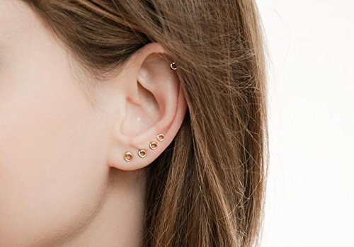 Tiny Round Stud Earrings set Helix Multiple piercing Circle Ear Jewelry 14k Gold Filled Yellow or Rose