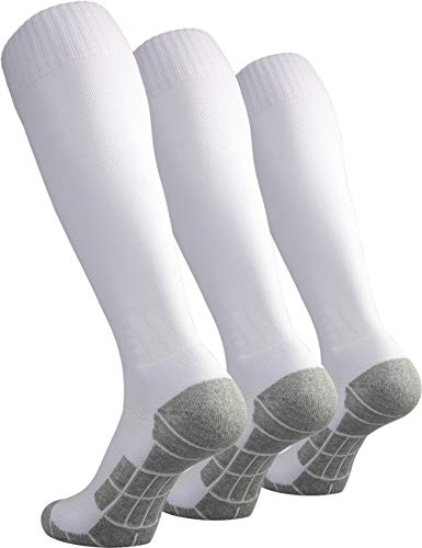 CWVLC Boy's Soccer Socks Youth 3 Pairs Rugby Sport Team Athletic Knee High Long Tube Cotton Compression Socks White Small (3Y-5Y Youth/ 4-6 - Solid Sock Football Youth