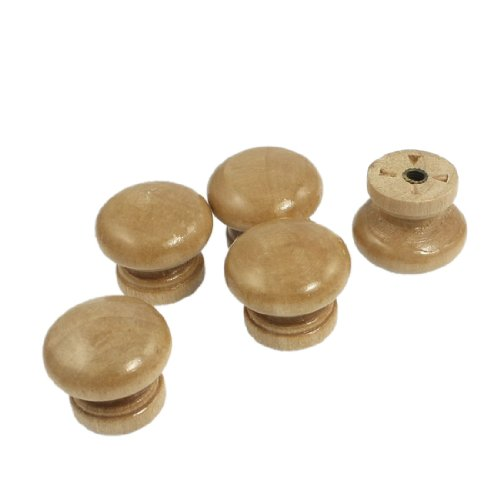 "5 Pcs Cabinet Wood Wooden 0.94"" Dia Round Pull Knob Handles Beige"