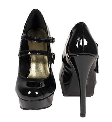 Las Mujeres Deliciosas Stephy Mary Jane Double Strap Plataforma Stiletto Vestido Bombas En Negro De Cuero De Patente