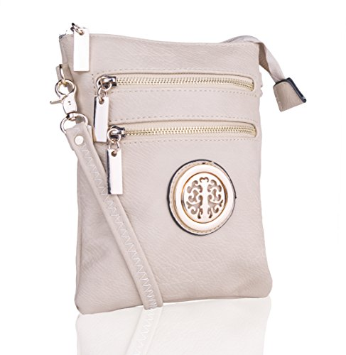 Collection Woman��s Gold Multi Zipper Shoulder Messenger Travel Crossbody Farrow Purse K Bag MKF Mia qITtwB