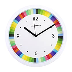 JustNile 10 Silent Sweep Movement Kid Wall Clock with Colorful Roulette Design