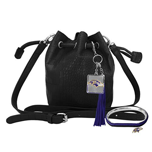 (Littlearth NFL Baltimore Ravens Mini Bucket Bag and Hair Tie Bangle Gift)