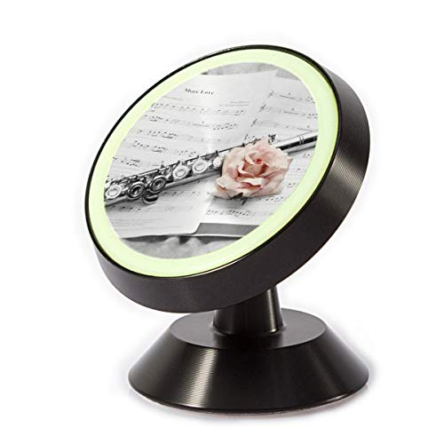 (Car Phone Mount Holder Pink Rose and Flute 360° Rotation Magnetic Car Phone Holder Universal with Super Strong Magnet)
