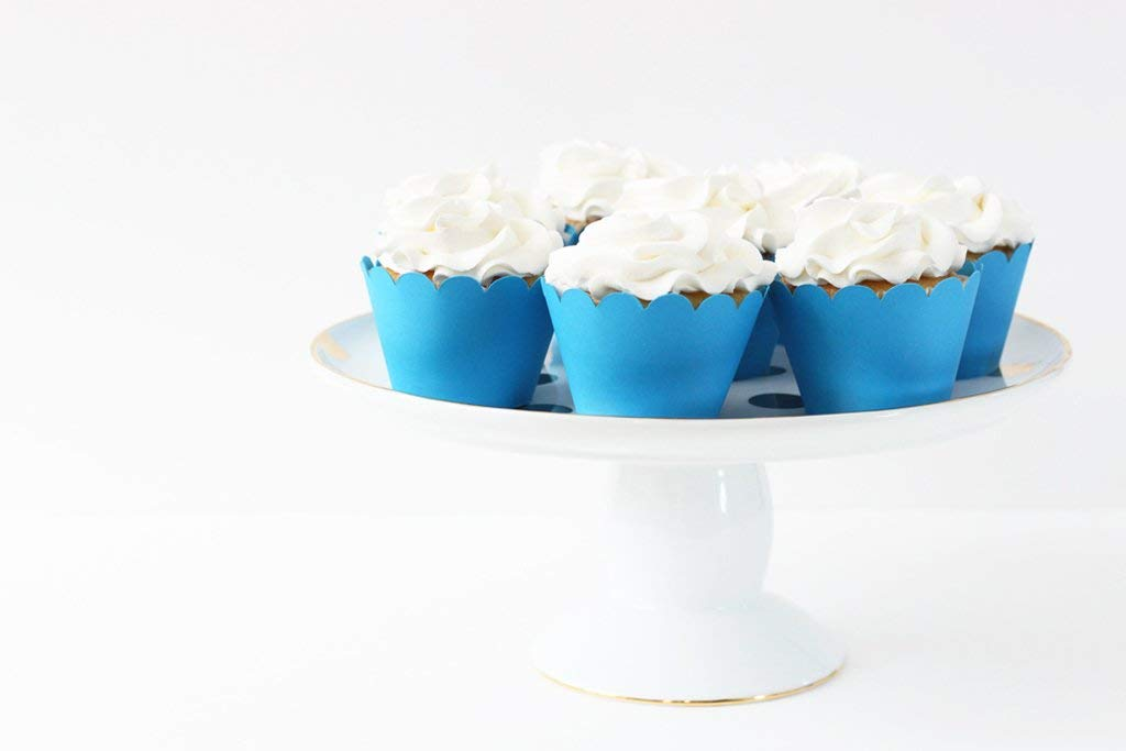 Blue Paper Cupcake Wrappers Party Supplies and Decorations Set of 12