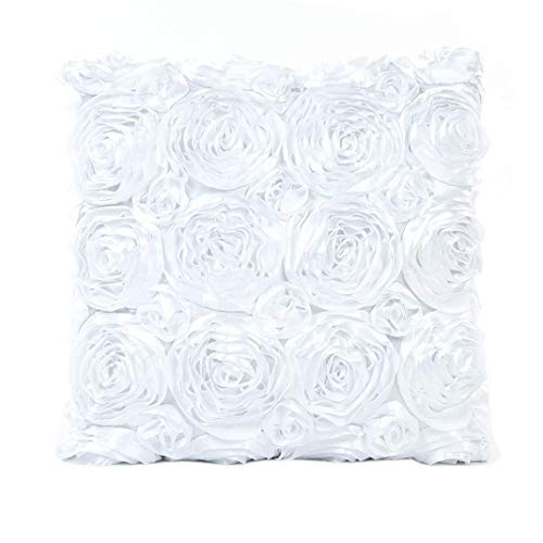 Usstore Decorative Pillowcases Rose Flower Waist Throw Pillow Cover Cafe Home Decoration for Living Sofas Beds Room (White)