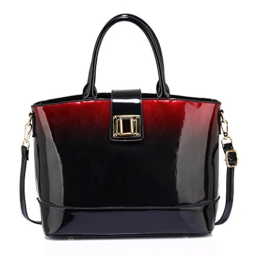 Ladies Patent Leather Handbag Women Shoulder Bag Designer Tote New Large Fashion Design 1 - Maroon