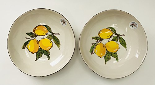 Hand Painted In Turkey | Set Of 2 | Lemon Bowl | White With Brown Edge Round Ceramic Serving | Pasta Bowl | 9 inches x 2 (Ceramic Lemon)