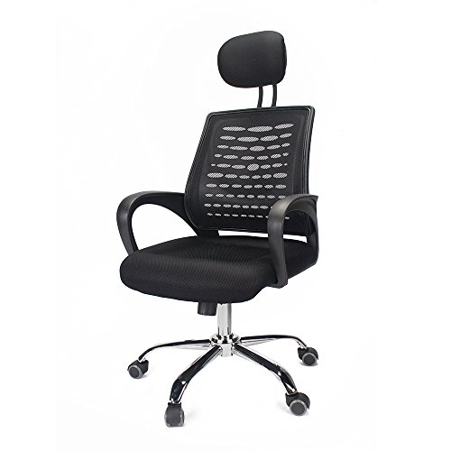 Thinkingbuy High-Back Mesh Swivel Task Chair with Adjustable Headrest Mesh Padded Seat Arm Rest by thinkingbuy