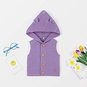 Fall Winter Baby Boy Girl Knitted Coat Hooded Sleeveless Vests Warm Comfortable Toddler Cardigan Top Shoulder Jackets
