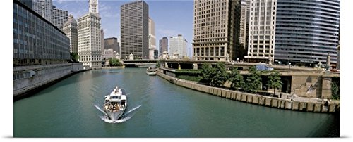 Great BIG Canvas Poster Print entitled Boat Chicago River Chicago IL