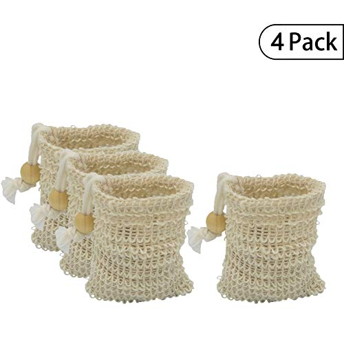 Bleu Bath (4 Pack) MINI Sisal Ramie Soap Saver Bag with Drawstring and Wooden Bead Holder ()