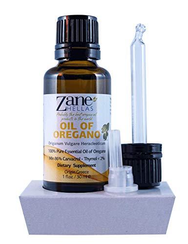 Zane Hellas Pure Greek Essential Oil of Oregano with 86 Percent Minimum Carvacrol, 129 mg Carvacrol Per Serving, 1 fl. oz. 30 ml. Super 100