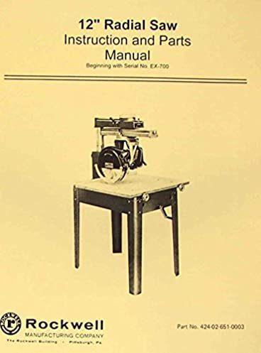 rockwell delta 12 radial arm saw plus 10 instruction part rh amazon com Delta 12-Inch Radial Arm Saws Delta 12-Inch Radial Arm Saws