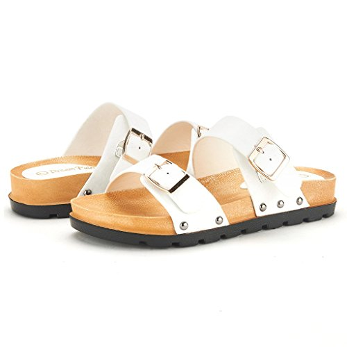 DREAM PAIRS ABI Women's Summer Open Toe Double Buckle Strap Fashion Design Slide On Flat Gladiator Sandals WHITE SIZE 10