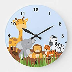Blue Cute Jungle Baby Animals Modern Simple Wooden Wall Clock Silent Non-Ticking Clock for Living Room Home Office 12 Inches