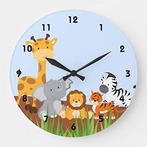 (Blue Cute Jungle Baby Animals Wall Clock Decor for Bedroom Nursery Round Silent Wood Clock Art for Kids Girls Boys Room 14)