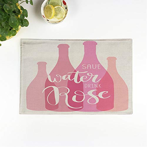 rouihot Set of 6 Placemats Wine Bottles Inspirational Save Water Drink Rose Lettering Phrase Non-Slip Doily Place Mat for Dining Kitchen Table from rouihot